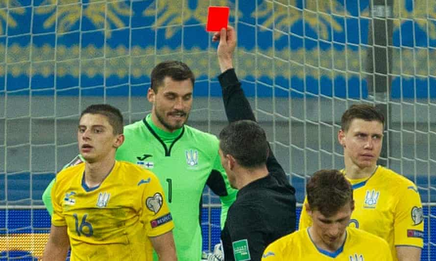 Ukraine's Vitaliy Mykolenko sees red late in the game against Finland, also conceding a penalty that saw the visitors claim a 1-1 draw.