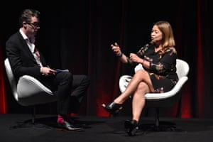 Darren Davidson, media editor at The Australian, with Michelle Guthrie, managing director of the ABC, at the Screen Forever conference