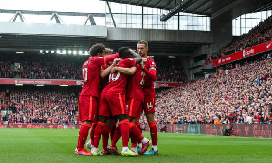 Liverpool players celebrate Diogo Jota's opening goal