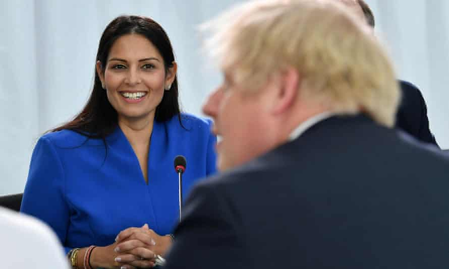 Priti Patel with Boris Johnson at a cabinet meeting in Sunderland.