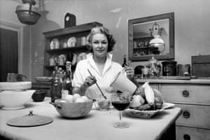 Elizabeth David in her kitchen in Chelsea, c1956/7: 'Books like hers were important to keeping a household in a faraway place.'