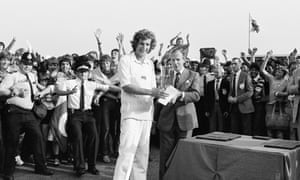 England captain Bob Willis is presented with the series trophy after England won the second Prudential Trophy One Day International between England and Pakistan at Old Trafford in July 1982. England won the match by 73 runs and the series 2-0.