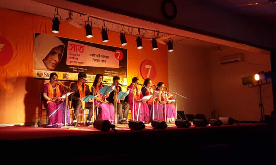 Local people perform Seven on stage in a lecture theatre at Jahangirnagar University in Bangladesh.