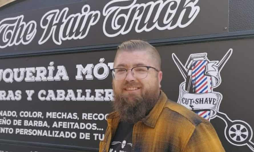 Eneko Abad with the mobile hair salon in Aragon, Spain.