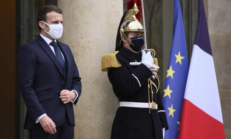 President Emmanuel Macron at the Elysee palace in Paris, France.
