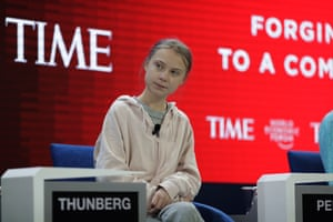 Swedish environmental activist Greta Thunberg at the World Economic Forum in Davos
