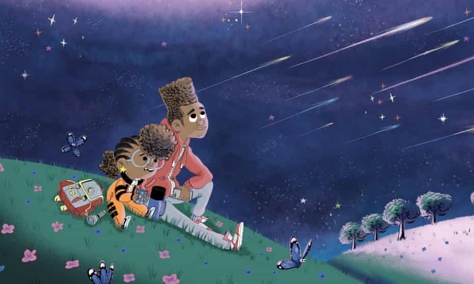 'A lot of [kids], the minute they see Rocket and her big brother Jamal, especially young black kids, their eyes light up'... an illustration from Look Up!