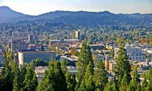 'A town of parks, trees and waterway.' View from Skinner Butte of downtown Eugene, Oregon.