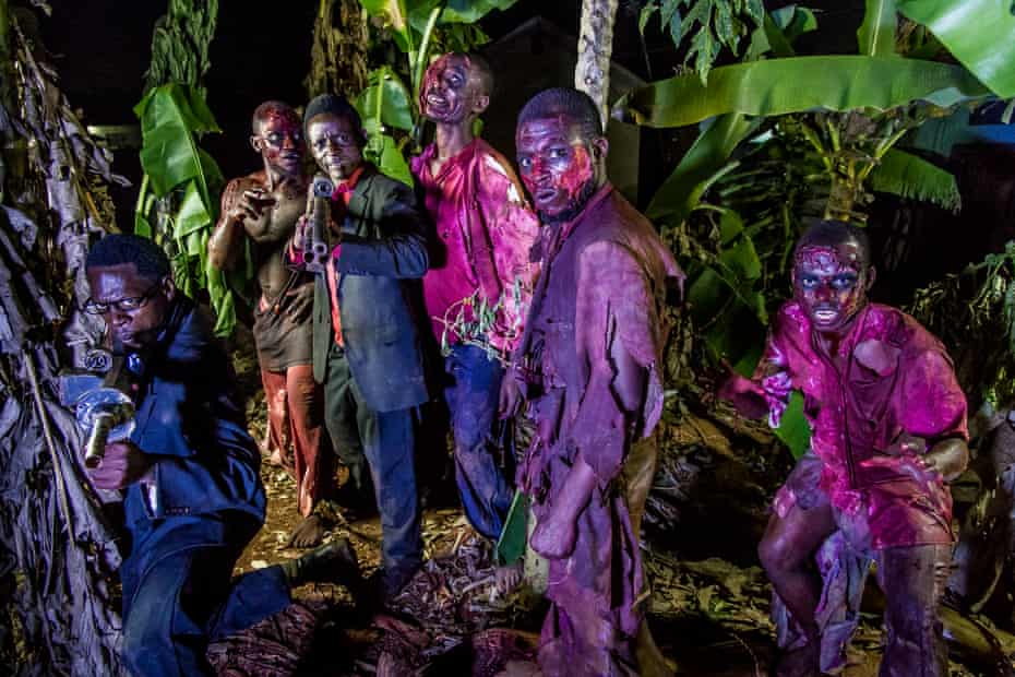 On the set of the zombie movie Eaten Alive in Wakaliwood