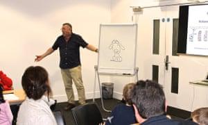 Harry Venning draws cartoons at the Guardian Education Centre Cartoon and art family day 17 November 2018