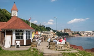 Scarborough Clock Cafe South Bay and Grand Hotel Yorkshire UK