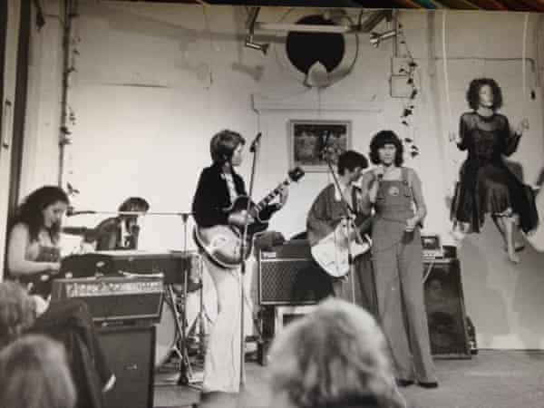 The Stepney Sisters' first gig, at a women's arts festival in Covent Garden, London, in 1975, with Nony Ardill on guitar, third from left