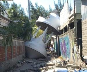 Devastated buildings on the Gili islands.