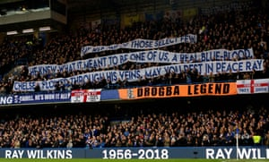 Tribute to Ray Wilkins by Chelsea fans before kick off against West Ham United at Stamford Bridge.