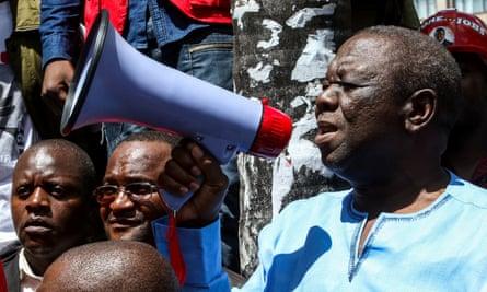 Morgan Tsvangirai addresses supporters in Harare.