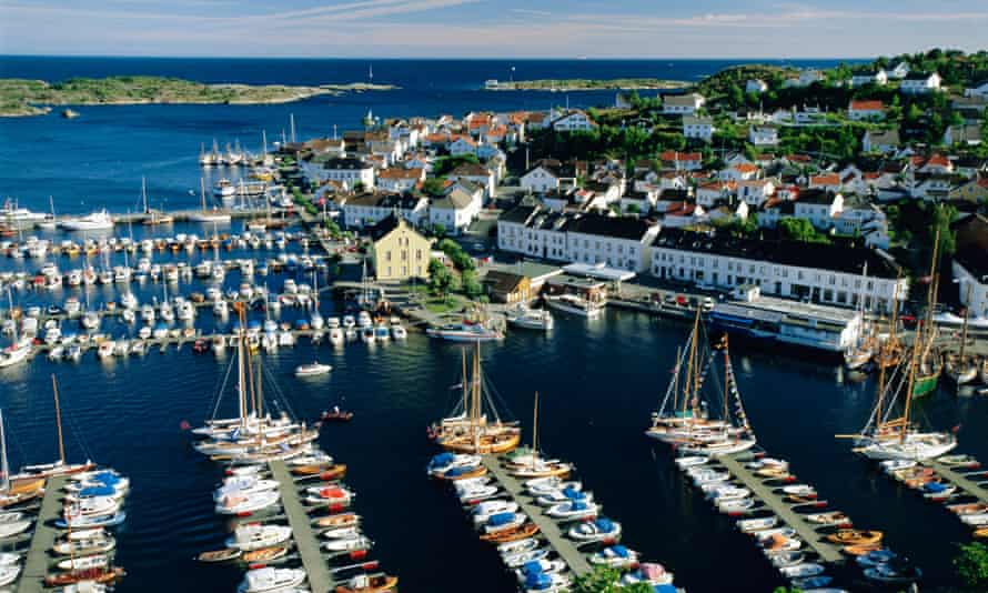 Boats in the harboour at Risør, on the Skagerrak, south coast, Norway,