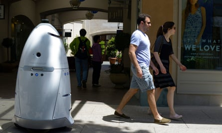 A security robot made by Knightscope patrolling the Stanford shopping center in Palo Alto, California