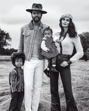 Gary Clark Jr. with his wife and kids in the new John Varvatos campaign.