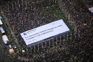The banner bearing a David Davis quote was carried by thousands of marchers at the Put It To The People rally in Parliament Square.
