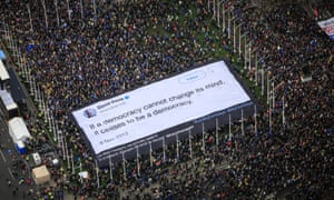 A Led By Donkeys banner in Parliament Square, London, during the Put It To The People march.