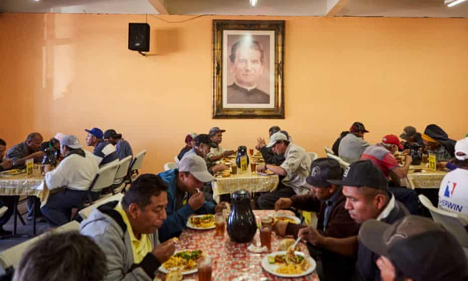 Migrants who seek to cross the border gather every morning in the Salesian community breakfast room of Padre Chava to have a free breakfast.