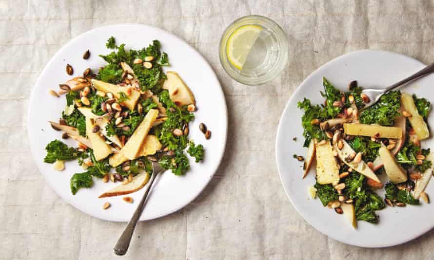 Thomasina Miers' massaged kale salad with pear, pine nuts and crisp pecorino.