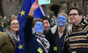EU enthusiasts at an anti-Brexit protest in Edinburgh this weekend.