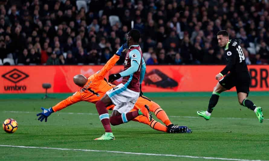 Eden Hazard, scoring here against West Ham, has been liberated from deep defensive duties and thrived in attack.