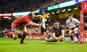 Jesse Kriel of South Africa crosses the line to score a second half try for South Africa.