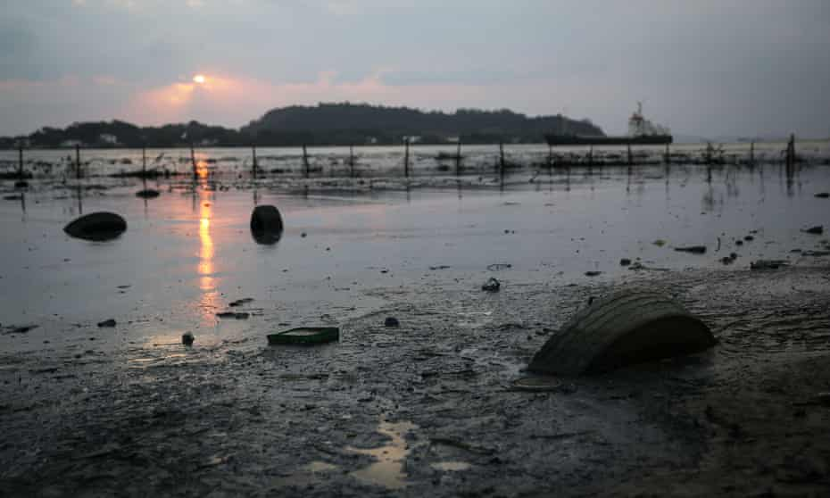 Tyres float in polluted waters along the edge of Guanabara Bay, the Olympic sailing venue in Rio de Janeiro state