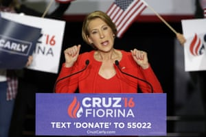 Carly Fiorina speaks during a rally for Ted Cruz.