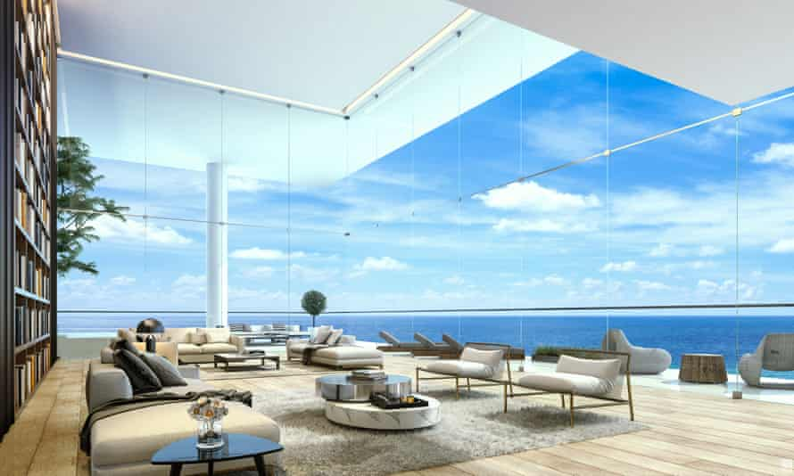 A virtual living room on the 20th floor of the Palm Jumerah in Dubai.