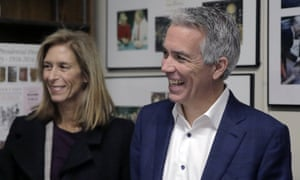Joe Walsh with his wife, Helene, in Concord, New Hampshire, on 14 November 2019.