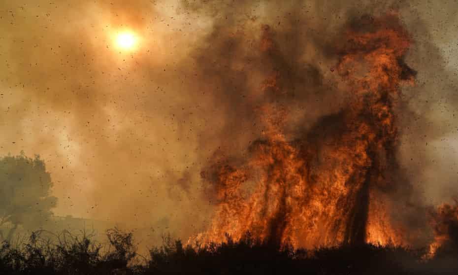 The Silverado fire burns in Irvine, California, in October.