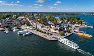 Aerial view of Vaxholm island, in Stockholm's archipelago, Sweden.