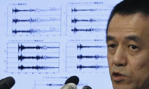 Yohei Hasegawa of the Japan meteorological agency explains to media in Tokyo the data collected after the North Korea nuclear test on Wednesday.
