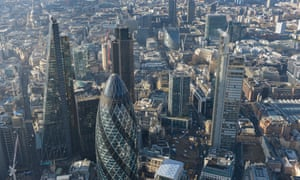 An aerial view of London's financial district