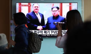 South Koreans in Seoul watch news coverage of Mike Pompeo's visit to North Korea