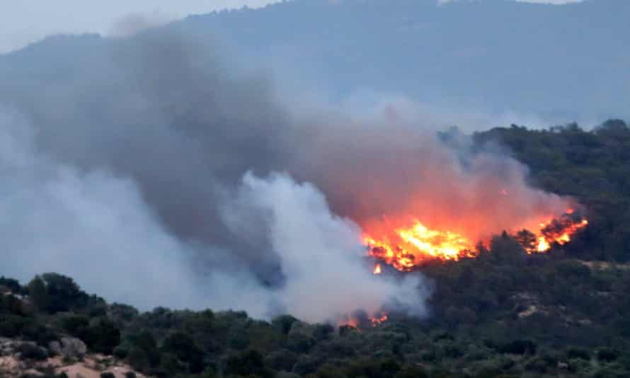 The forest fire burning in the municipality of Ribera d'Ebre, in Tarragona, Catalonia.