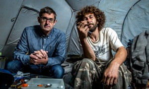 Theroux with Nate Walsh, a heroin user, for his new series.