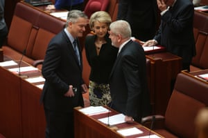 Mathias Cormann, Michaelia Cash and Mitch Fifield, whose shift in support ushered in Malcolm Turnbull's demise