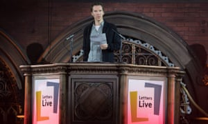 'Some of the best material an actor will ever see' … Benedict Cumberbatch at Letters Live in the Union Chapel.