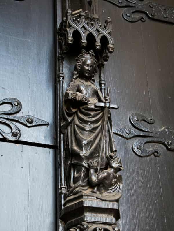 Statue of saint Dympna at Saint Dympna church in Geel, Belgium.