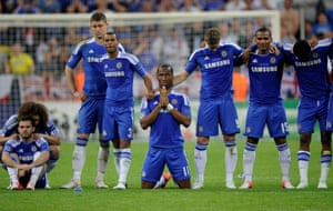 Didier Drogba of Chelsea prays during the penalty shoot-out during the Bayern Munich v Chelsea Champions League Final at the Fussball Arena Munchen on 19th May 2012.