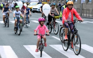 A young cyclist takes to the road in Brussels, Belgium