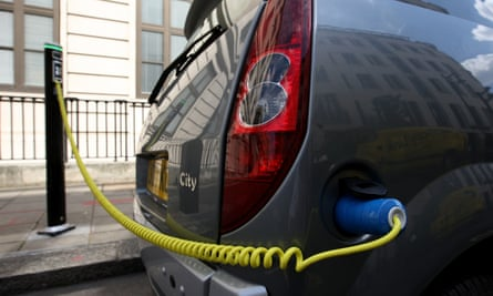 An electric car being recharged.