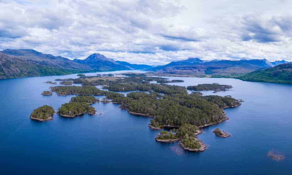 View of the wooded islands on Loch Maree, Wester Ross, Highlands, Scotland.