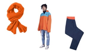 Composite image of orange Fjällräven Lappland fleece scarf; Lucy and Yak fleece; and Finisterre's Eddy long johns