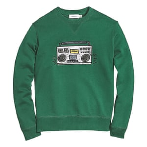green sweatshirt with illustration of boombox on the front black grey Coach