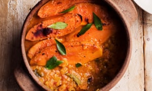'My oven will glow': baked spiced lentils with sweet potato.